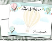 Printed Thank You Note Cards with Envelope, Hot Air Balloons, Bridal Shower, Baby Shower, Wedding, Birthday Party, Pastel Colors