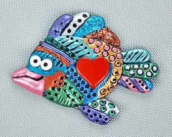 Hand Sculpted Fish Focal or Brooch by Critter Craft