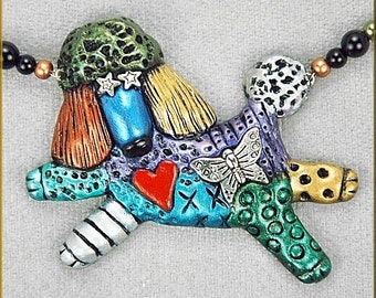 Hand Sculpted Poodle Doodle Necklace by Critter Craft