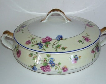 Haviland Limoges France Angelo Pattern Covered Casserole, Porcelain Dish, French Farm House, French Decor, Gold Trimmed Casserole Dish,