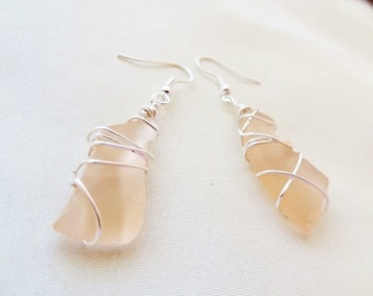 Pretty Tan Seaglass Wire wrapped Earrings-Beach Candies by Jessentials #G1