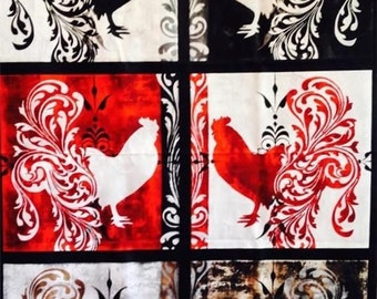 Color Bakery Bonjour Black Rooster 6 Block Quilting Treasures Fabric Panel