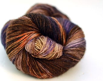 Hand Dyed Yarn -  Silk and Superwash Merino, Single Ply Sock Weight