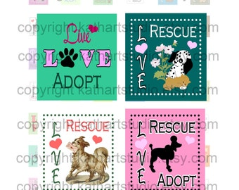 Instant Download - Animal Rescue Adopt Dog Cat Collage Sheet - .75 x .83 inch sq for jewelry, pendants, scrapbooking 344S