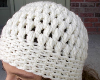 Ivory Crochet Beanie Hat with Bobbled Texture Cute Beanie Hats for Women Teens and Tweens Cream Hat Hand Crocheted Items Handmade Hats Beeny