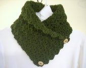 Crocheted neck warmer-hunter olive green