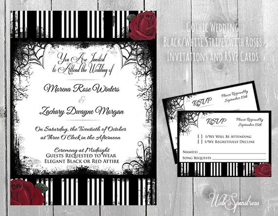 Printable gothic wedding invitations roses by webspinstress for Free printable gothic wedding invitations