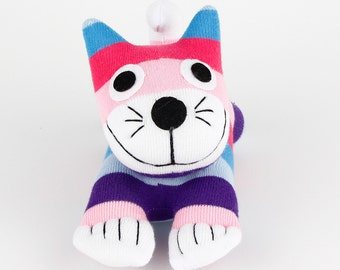 Girl Birthday Gift Handmade Sock Cheshire Cat Kitty Stuffed Animal Baby Toy