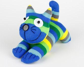 Kids Birthday Gift Handmade Sock Cheshire Cat Kitty Stuffed Animal Baby Toy