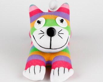 Handmade Sock Cheshire Cat Kitty Stuffed Animal Baby Toy Christmas Gift New Year Gift Birthday Gift