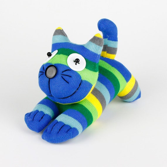 Kids Birthday Gift Handmade Sock Cheshire Cat Kitty Stuffed Animal Baby Toy