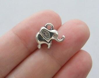 6 Elephant charms antique silver tone A499