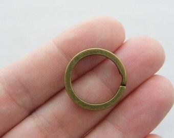 BULK 100 Key rings 20 x 2mm bronze tone