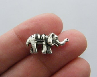 BULK 50 Elephant spacer beads 20 x 10mm antique silver tone A524