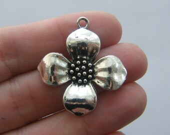 4 Flower charms antique silver tone F100