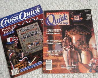 Two Cross Stitch Magazines - Premier Issue of Cross Quick and Cross Stitch Quick and Easy