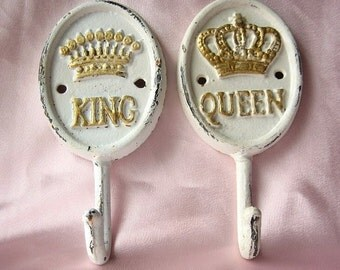 Rustic Cast Iron King and Queen Wall Hook- Set of Two