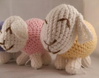 Happy Sheep Stuffed Toy - Crochet Amigurumi Baby Pink Yellow Blue Purple White