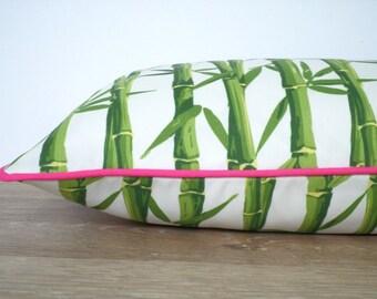 Green outdoor pillow cover 20x12 tropical decor, bamboo cushion cover for outdoor garden bench, green and pink pillow case