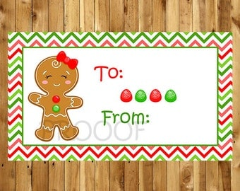 Gingerbread  Girl, Christmas Presents Label, Holiday School Tag, Instant Download