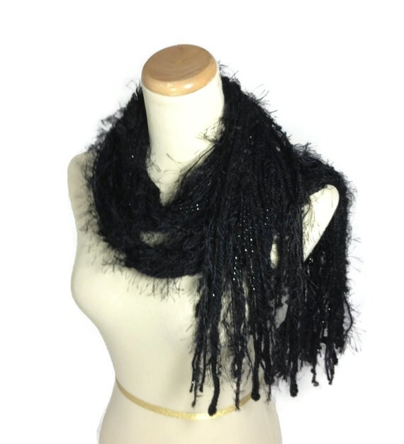 Black Fringe Scarf, Fashion Scarf, Valentines Day, String Scarf. Handmade Scarf