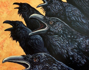 Inquisition, raven painting, acrylic painting, crow painting, large painting, bird painting, Gold leaf, handmade paint