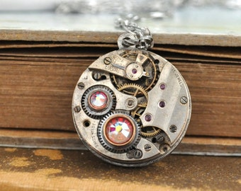 steampunk necklace MY TIME is YOURS antique silver watch movement jeweled necklace with Swarovski rhinestone