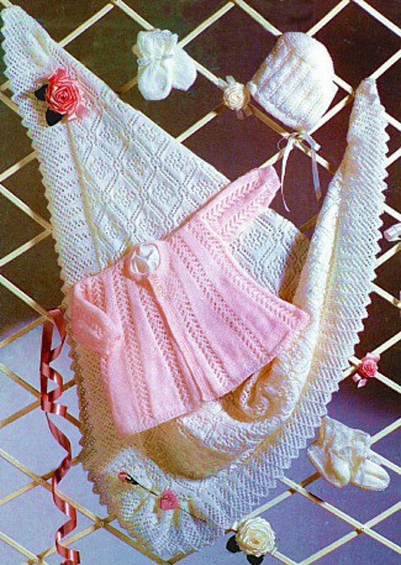 Knitting Pattern Baby Chest Sizes : Knitting Pattern Baby Matinee Coat Shawl Booties Bonnet