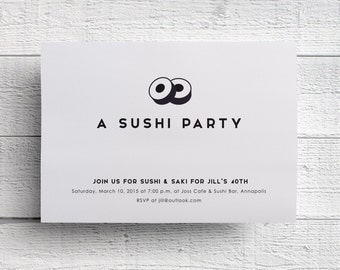 Sushi Party Invitation, Sushi Birthday Party, Sushi Dinner Party, Dinner Invite, Dinner Invitation, Printable, Birthday Dinner, Celebration