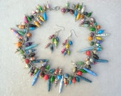 Colorful Paper Bead Necklace & Earring Set, African Bead for Life Hand-Rolled Paper Beads, Silver Chain