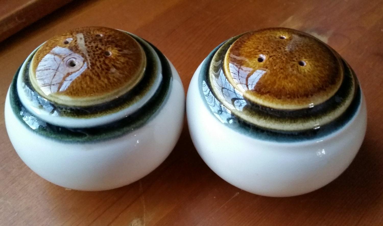 1970s Japanese Stoneware Spherical Salt And Pepper Shakers