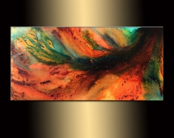 Original Abstract painting, Contemporary Modern Metallic Fine Art, Canvas Art, by Henry Parsinia 48x24