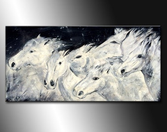 Original HORSE PAINTING Abstract Black And White Figurative Animal Art on Canvs by Henry Parsinia