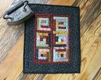 Miniature Log Cabin Wall Hanging or Table Topper