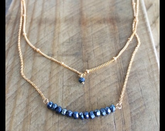 Gray Spinel Gold Filled Chain Necklace