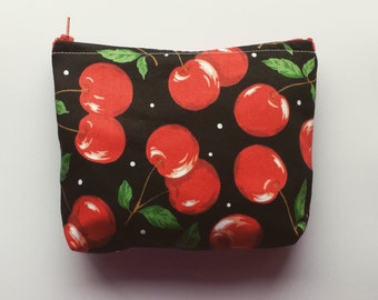 Red Black Cherry Make Up Pouch Bag