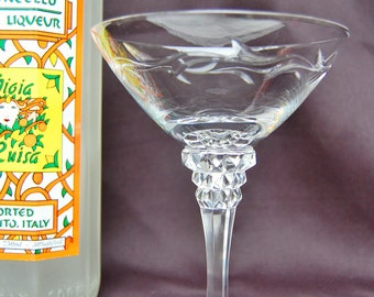 Cut Crystal Vine Design, Martini, Old Style Champagne Stemmed Glass