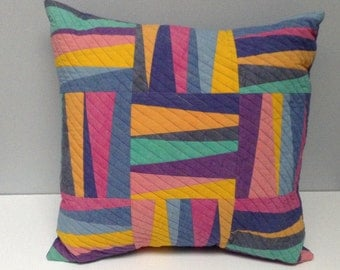 Patchwork Quilted Pillow in Blue, Green, Yellow, Purple and Pink