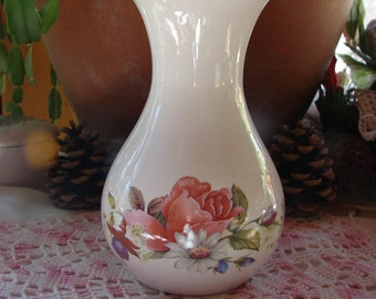 Mid Sized Ceramic Vase Adorned with a Pink Rose and Fuchsia