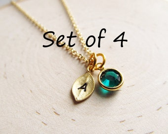Personalized Bridesmaids Gifts, Set of 4 Necklaces, Gold Initial Birthstone Necklace, Personalized Necklace, Tiny Initial Necklace, Bridal