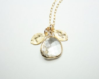 April Birthstone with  Personalized Two initial leaf necklace - Gold Filled , Cute Clear Stone in bezel , Customized letter and birthstone