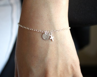 Petite Bracelet , Initial Disc 7mm with tiny cross All Sterling Silver , custom letter , engraved monograms Disc , lovely  everyday wear