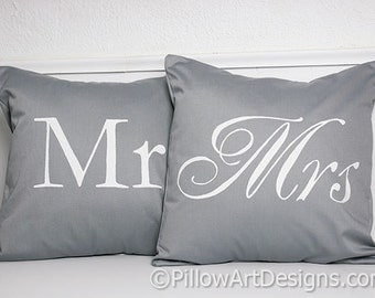 Mr and Mrs Pillow Covers Grey and White His and Hers 16 X 16 Fully Lined Made in Canada