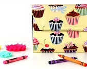 Yellow Cupcakes Deluxe Crayon Wallet with option to add a name, Crayon organizer, Art wallet, Crayon keeper, Art kit, Handmade toy, Art toy