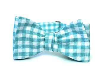 Men's Bow Tie - Fresh Mint Check - Aqua Gingham - Freestyle Self Tie - Turquoise and White Plaid Bowtie - In Stock