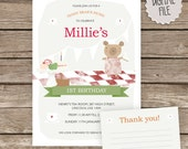 Personalised Tea Party, 1st Birthday Invitation & Thank you Note Cards