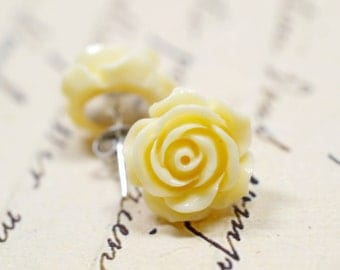 Large Ivory Rose Earrings, Cream Rose Off White Colored Botanical inspired Flower Jewelry, Retro Jewelry, The Rosie Large