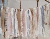 Rustic Shabby Rag Prairie Fabric Garland Vintage and Upcycled  Lace Linen Burlap Cotton Muslin Cream Ivory Natural Blush Gray 1' x 3'
