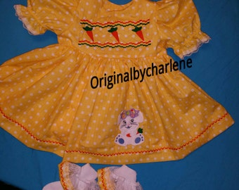 Boutique OOAK Custom Made Carrot Bunny Faux Smocking Dress
