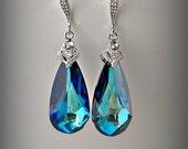 Swarovski Bermuda Blue Crystal earrings Dark Teal blue Something Blue Peacock Jewelry Teardrop Pendant Bridesmaid Gift Maid of honor gift